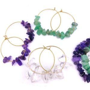Natural Stone Gold Hoop Earrings